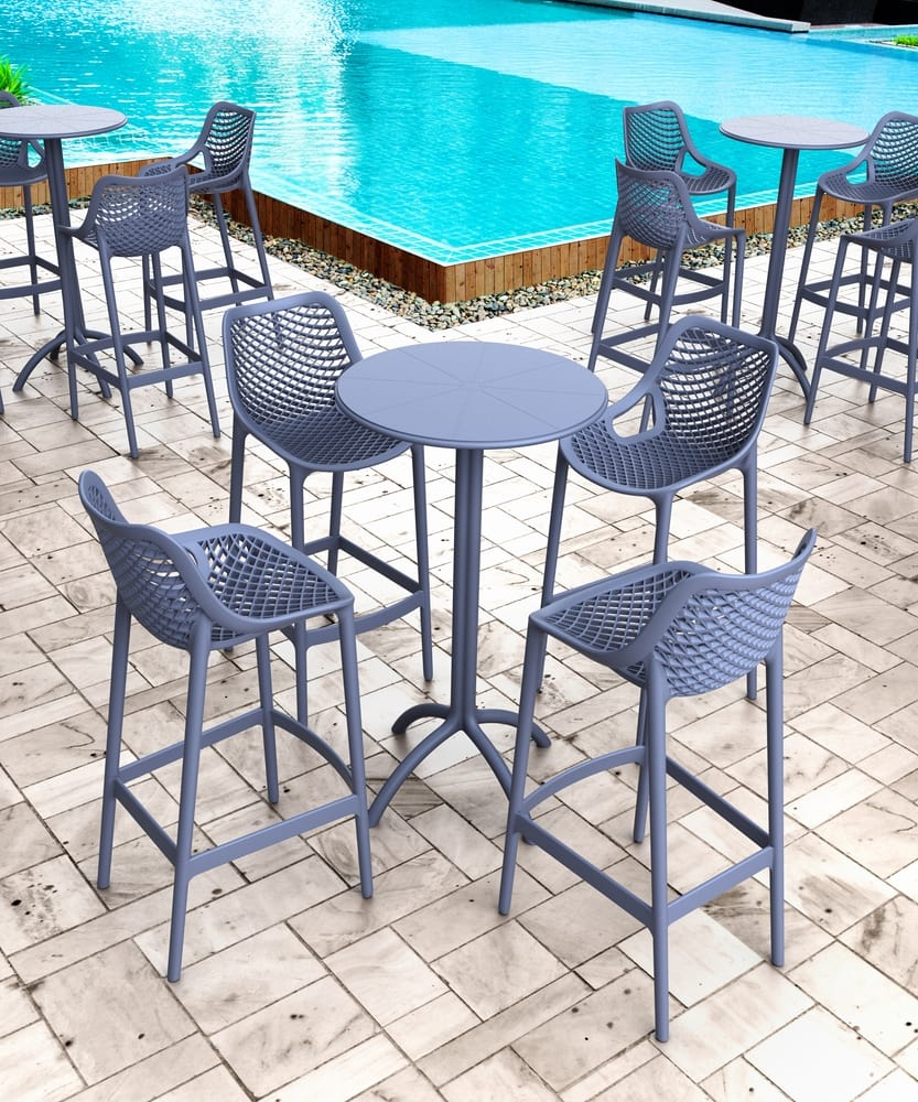 Outdoor bar stools and tables