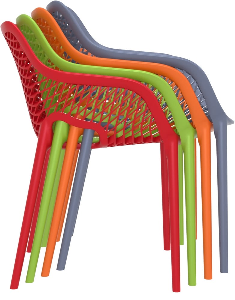 Outdoor stacking chairs with arms
