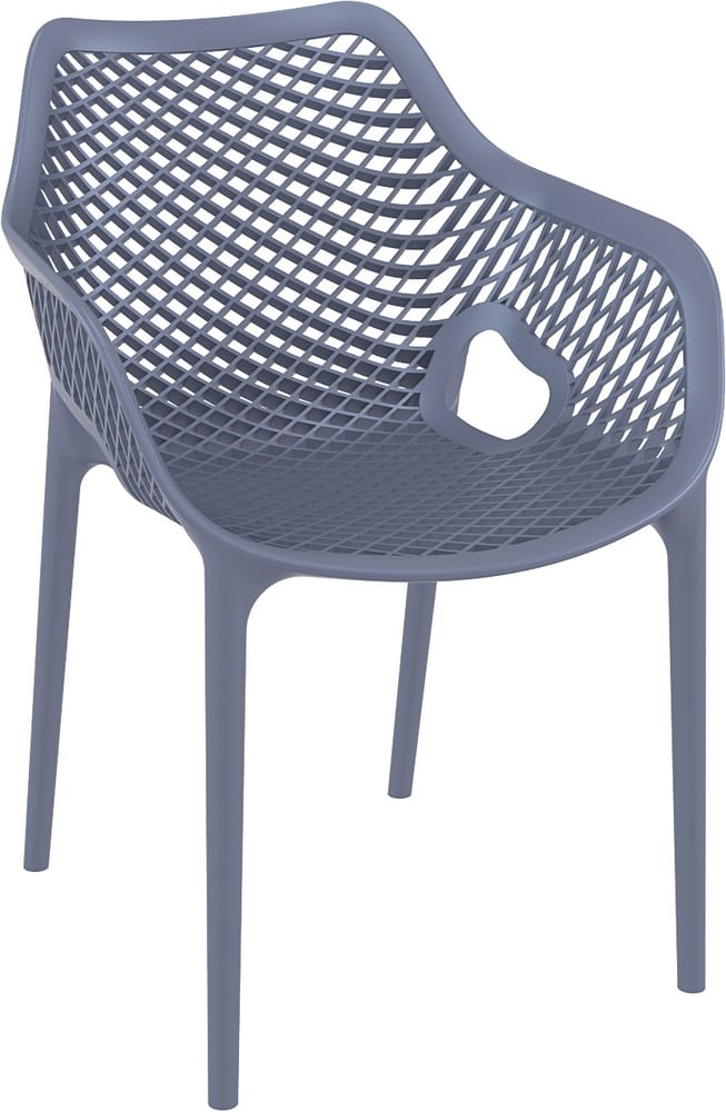 Stacking plastic chair with arms
