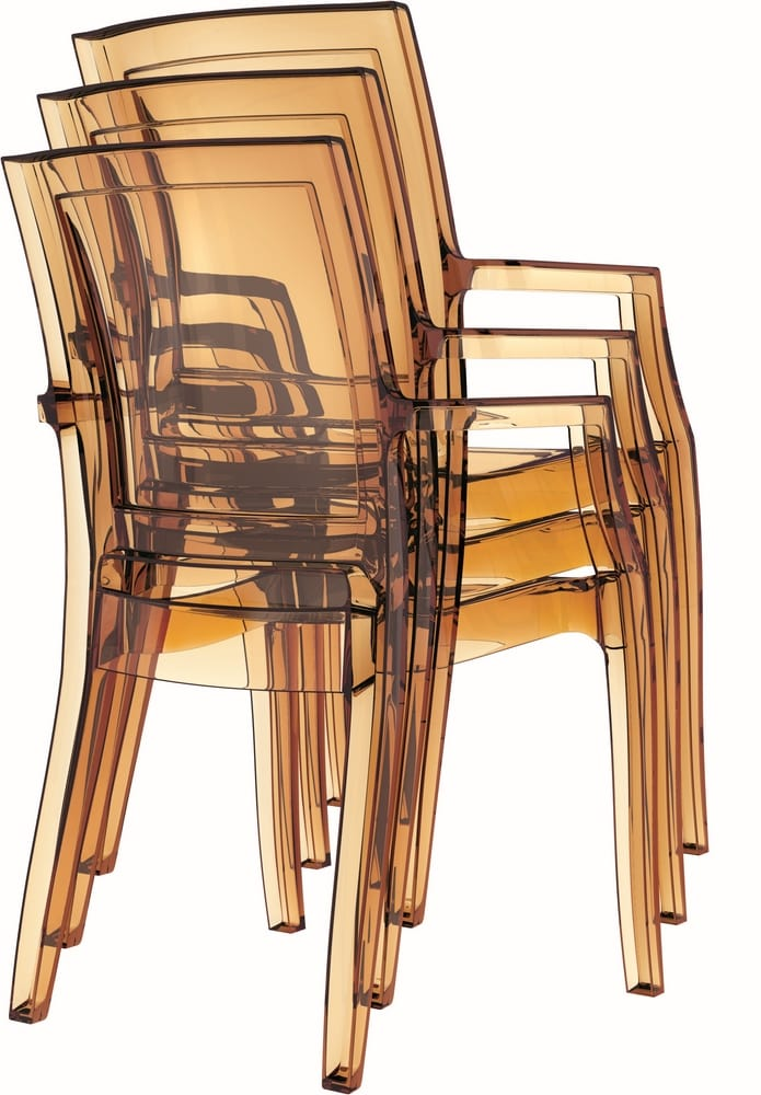 Armchairs in amber polycarbonate