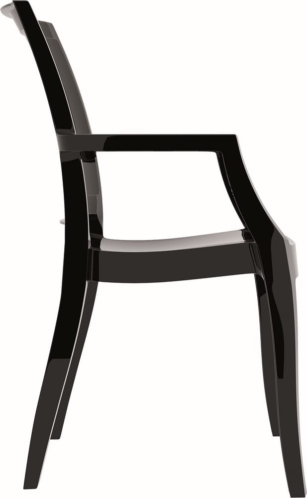 Chair in black polycarbonate