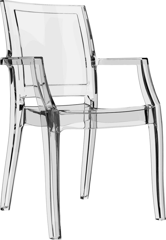 Stacking chair in transparent polycarbonate