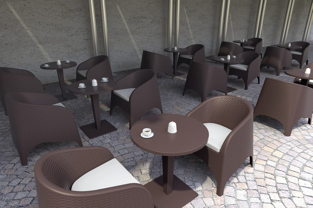 Outdoor armchairs and tables