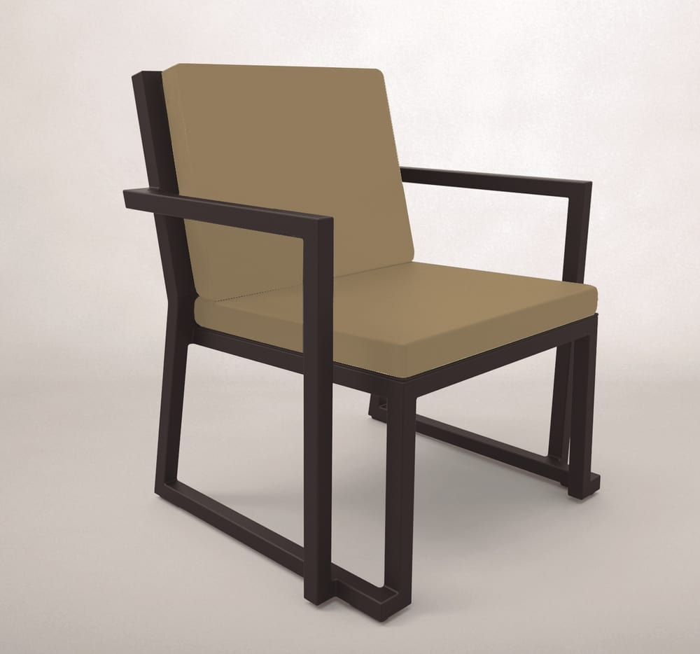Outdoor upholstered armchair