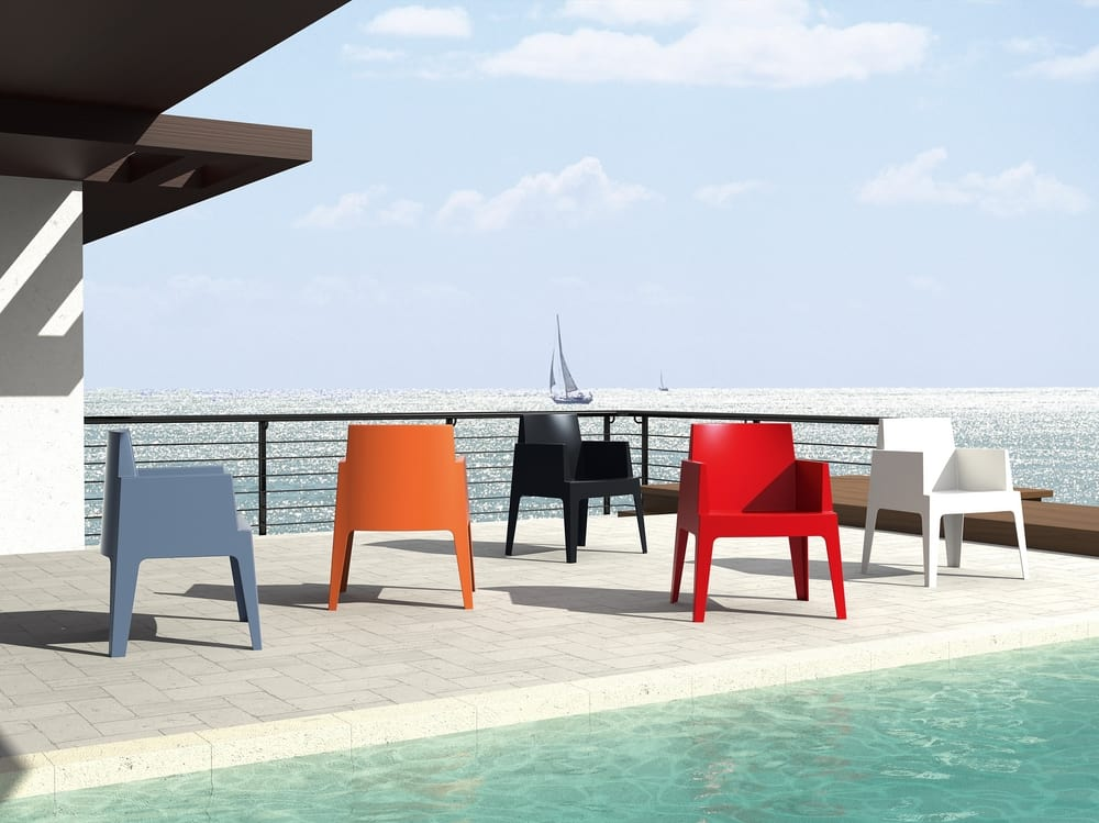 Coloured outdoor armchairs