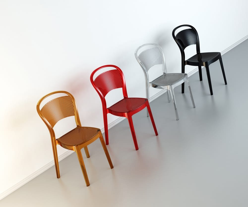 Chairs in coloured polycarbonate