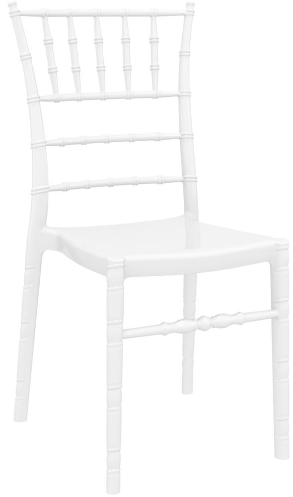 White plastic chiavari chair
