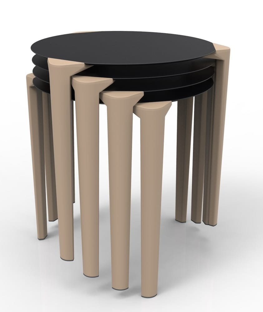 Round stacking tables for outside