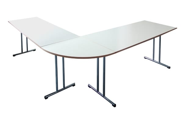Tables with quarter round extension