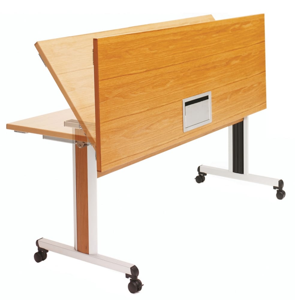 Folding meeting table with wheels