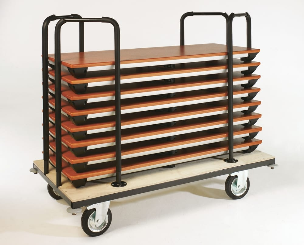 Trolley with folded tables