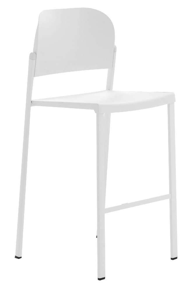 CONVENTION-B - High stool with backrest