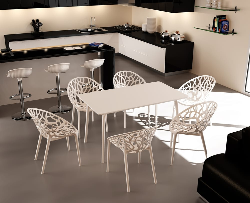 Modern chairs in white polycarbonate