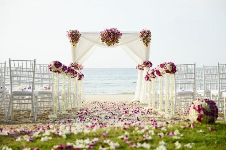 Wedding with decorated chairs