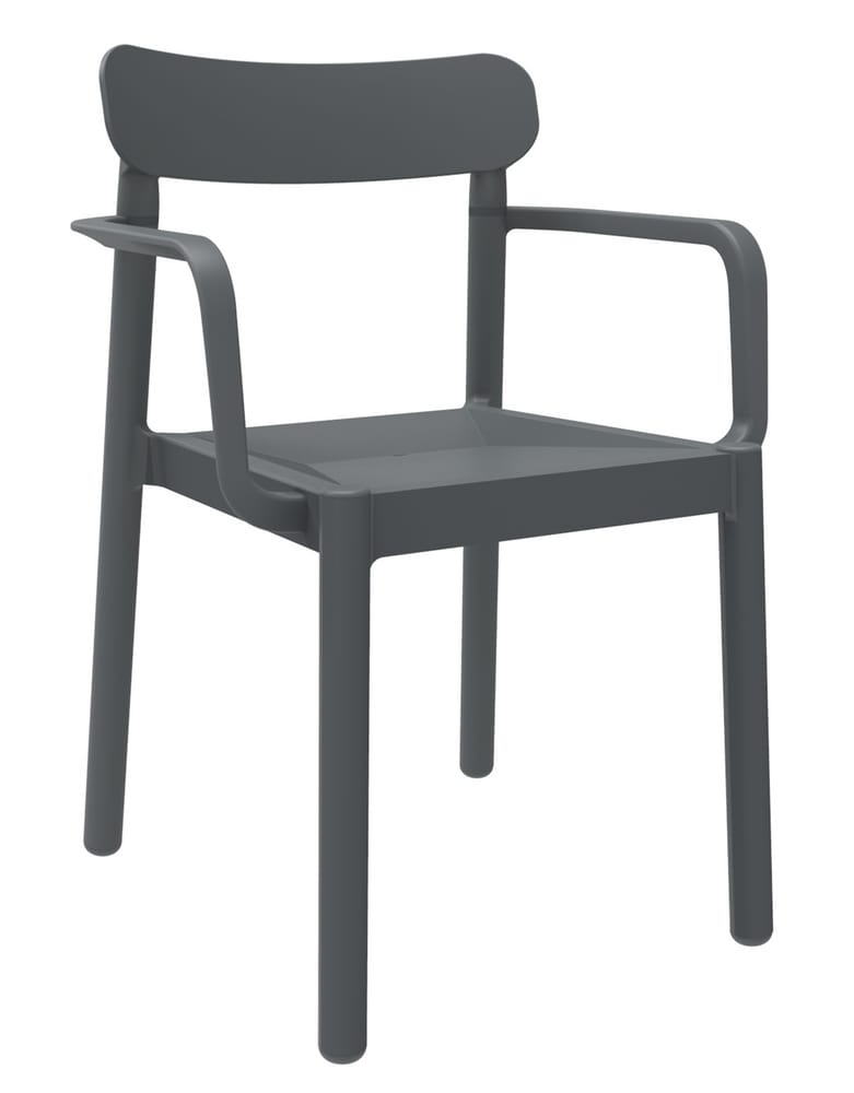 Dark grey chair with arms