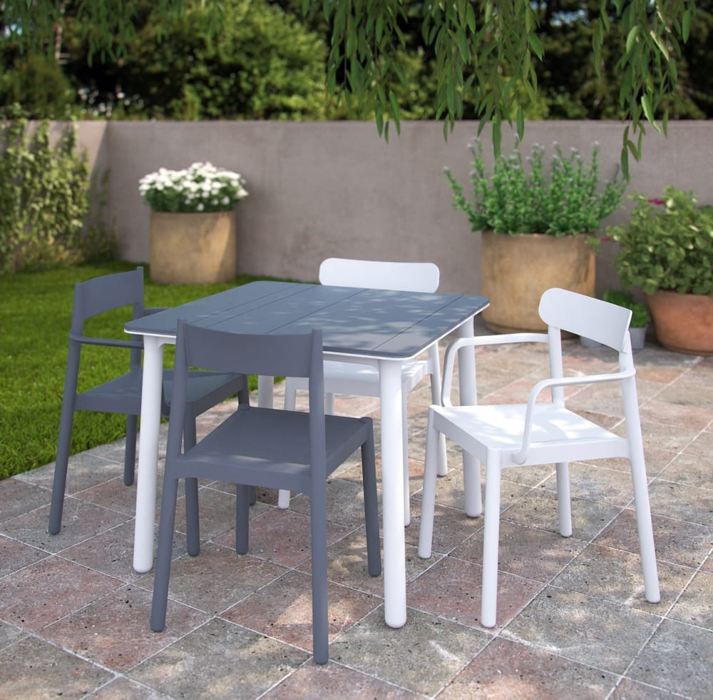 Outdoor plastic chairs and table