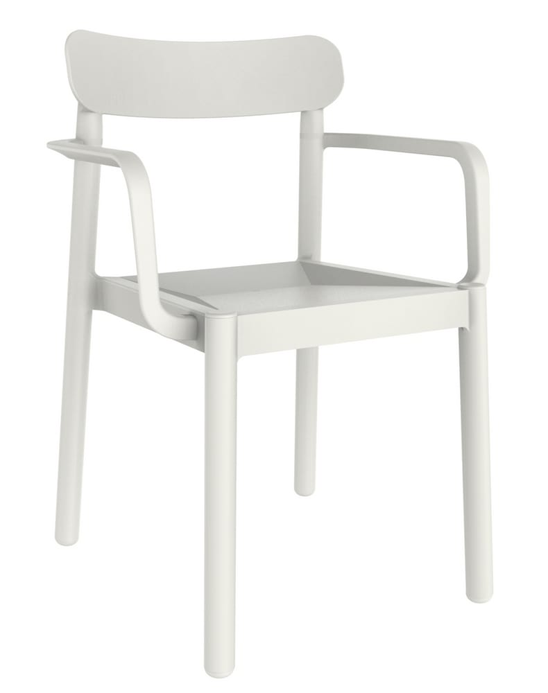White chair with arms