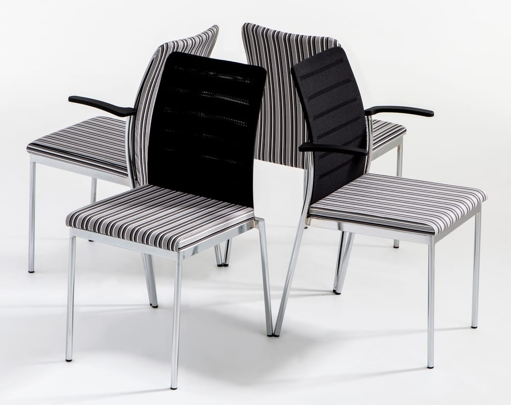 Chairs in chromed steel