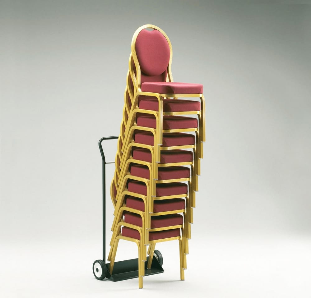 Stacked chairs and trolley