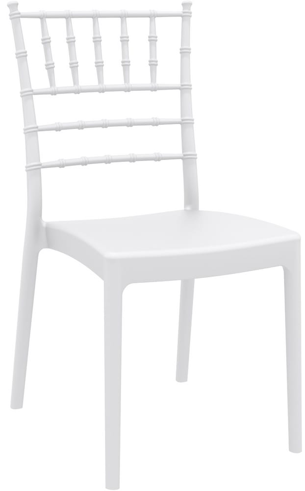 GIUSEPPINA - White plastic chiavari chair with cushion