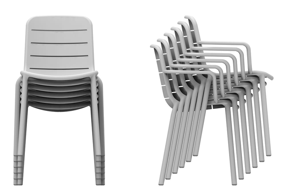 Stacking chair with arms or without