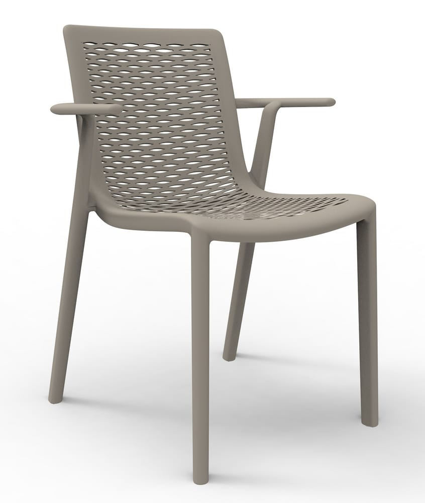Perforated chair with arms