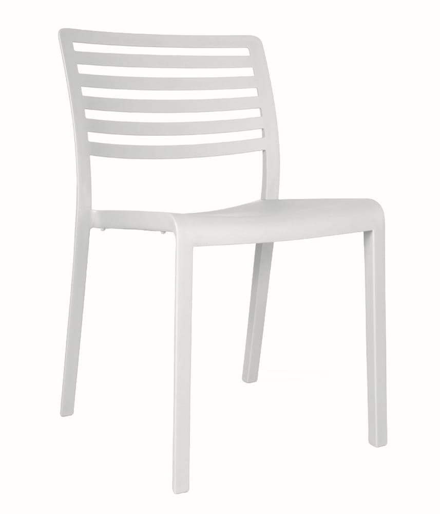 Plastic chair with slatted backrest