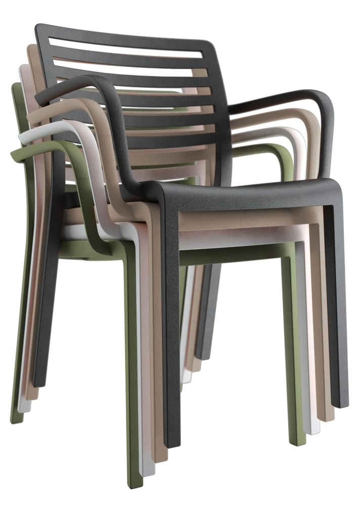 Stacked chairs with arms