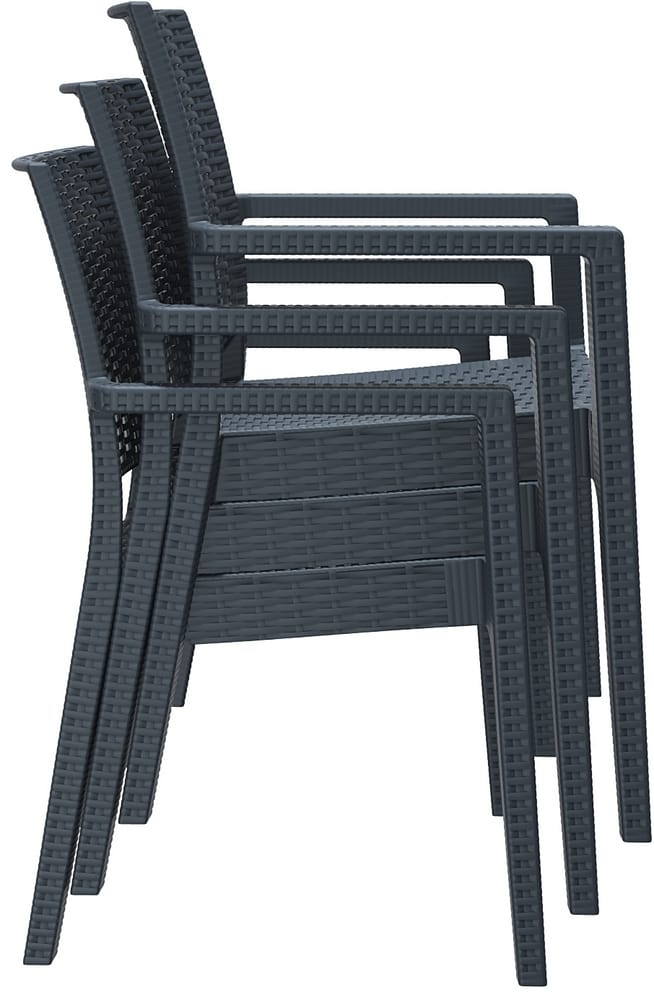 Stacking outdoor chairs with arms