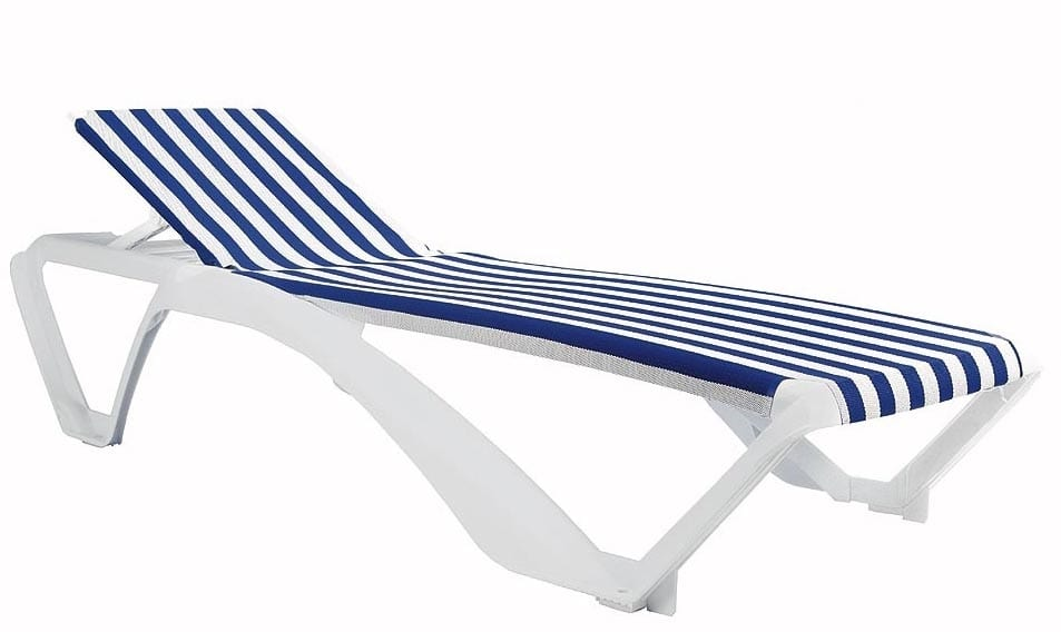 Sun lounger with striped fabric