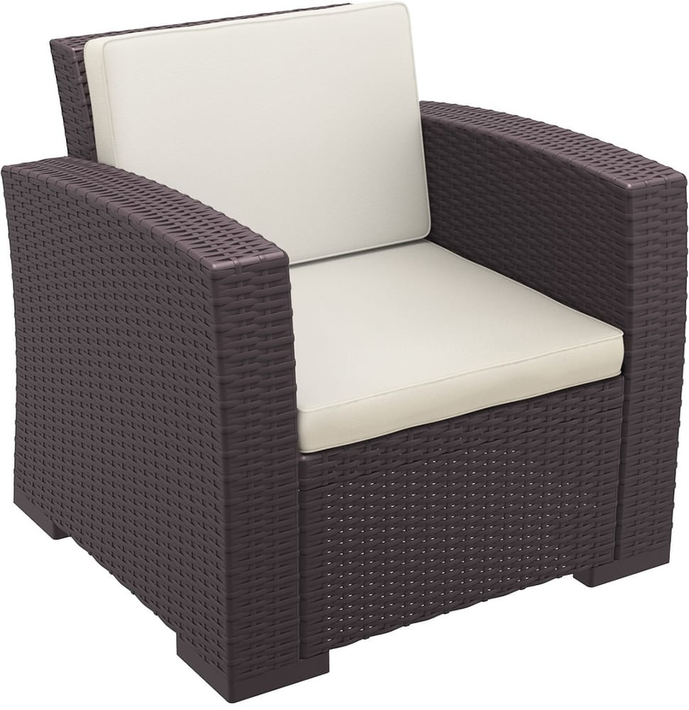 Outdoor armchair with cushions