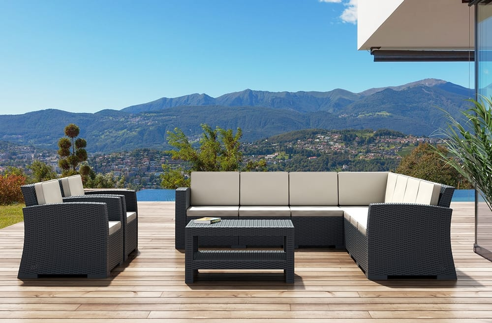 Outdoor sofas and low table