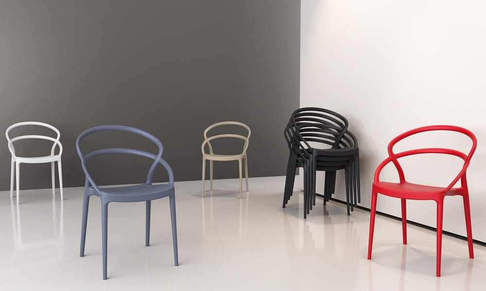 Coloured designer chairs