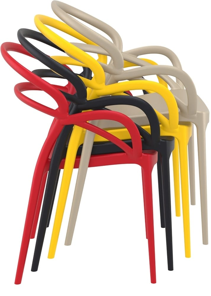 Stacking coloured armchairs