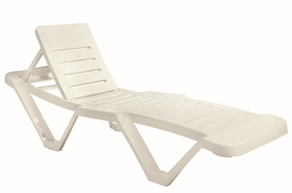 White plastic sun lounger for pool