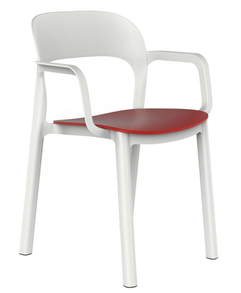 Bicolored chair with arms