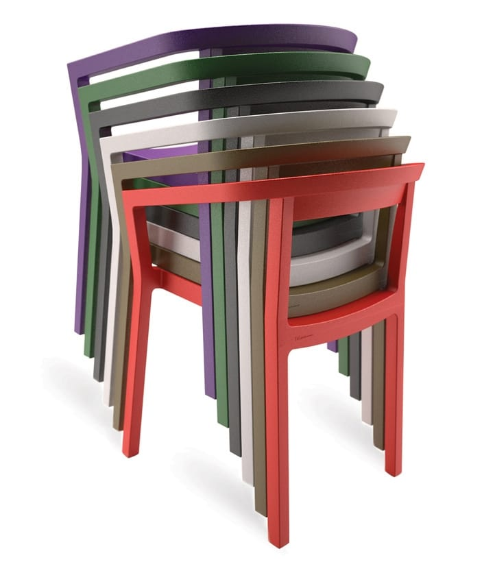 Stacking plastic chairs