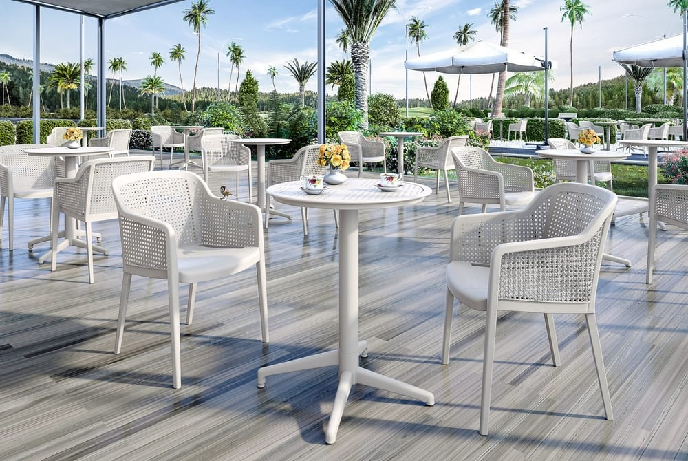 Outdoor stacking chairs tables