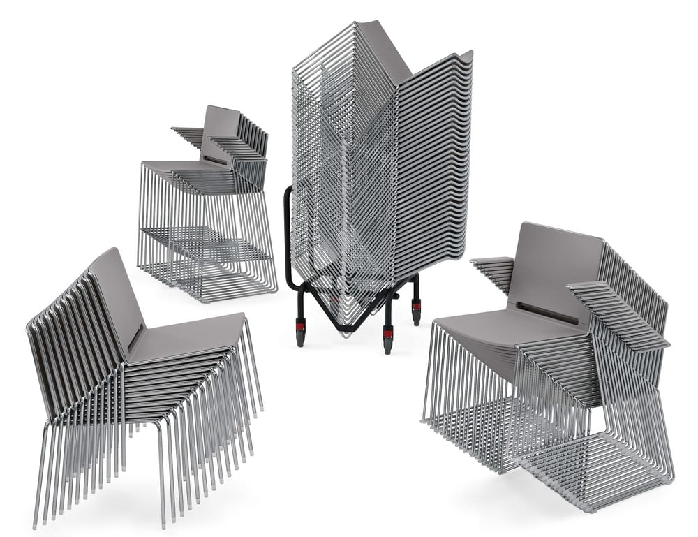 Stacked chairs and stools