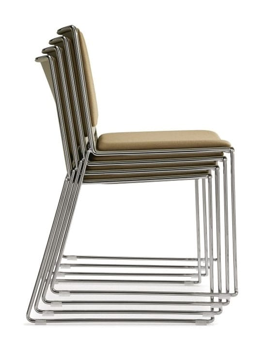 Stacked chairs with upholstered pads
