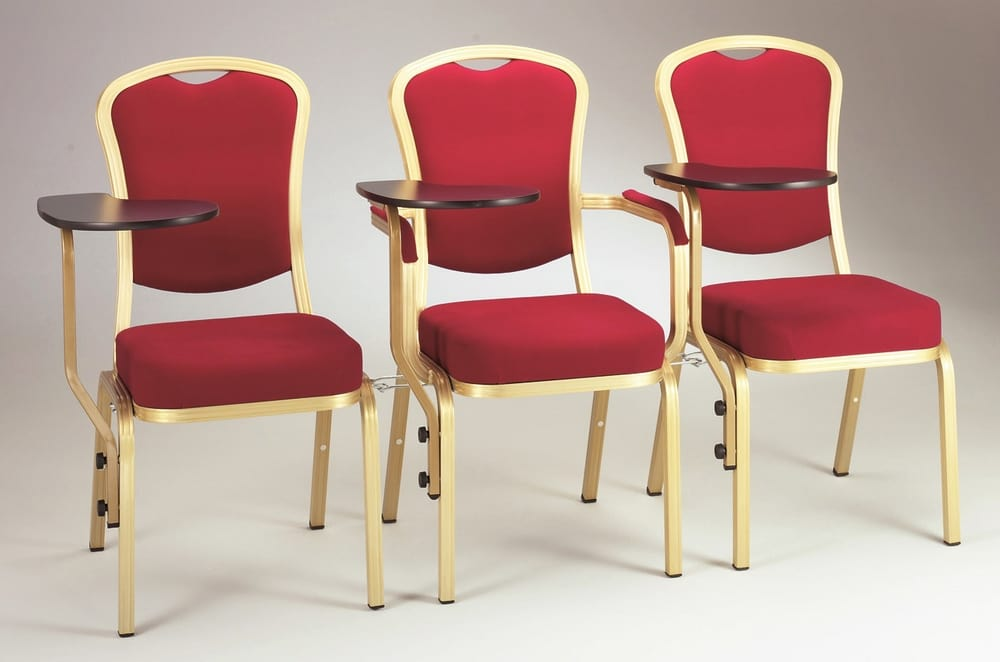Linked chairs with writing tablet