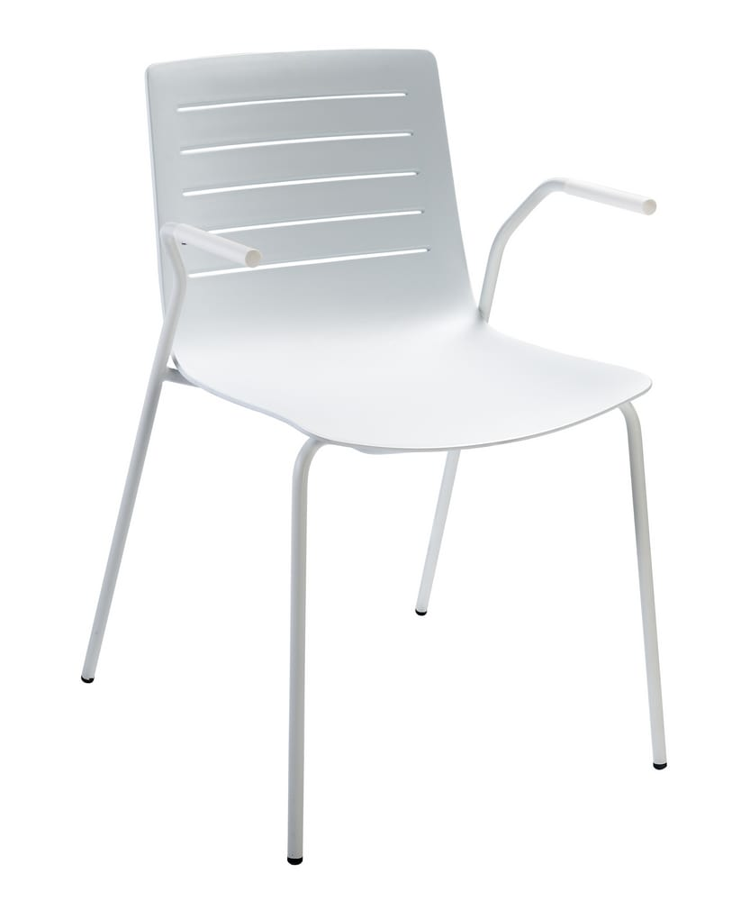 Stackable chair with arms