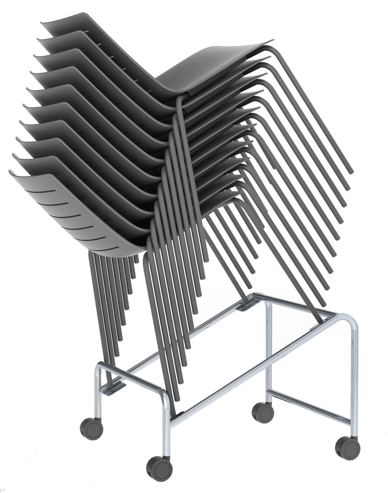 Trolley for stacked chairs
