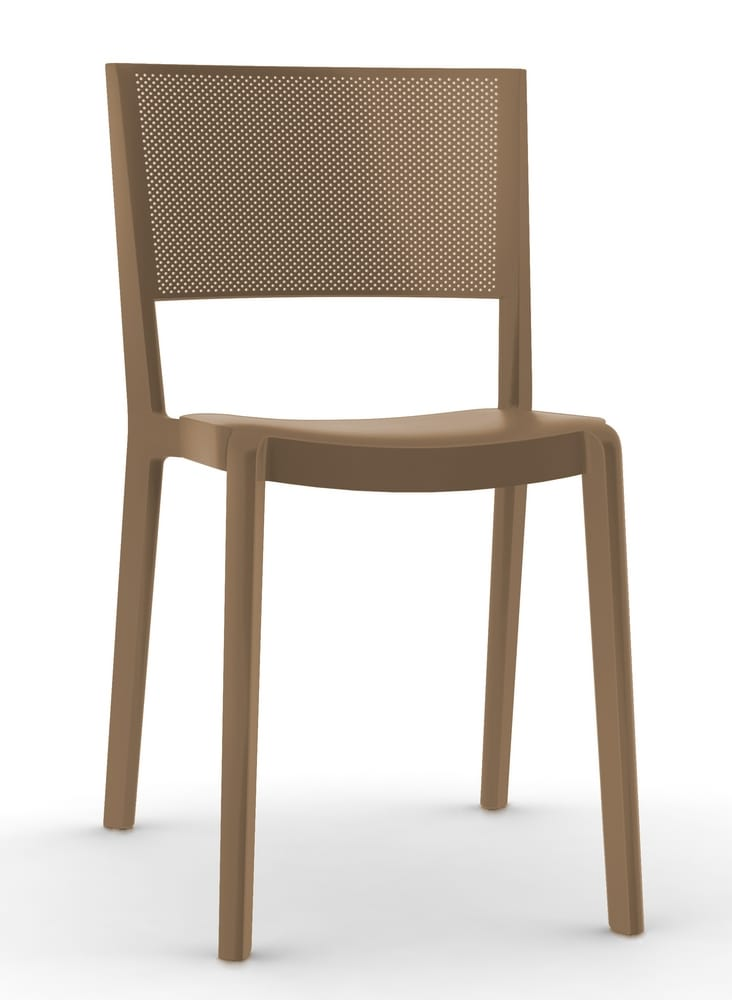 Stackable outdoor chair with perforated backrest