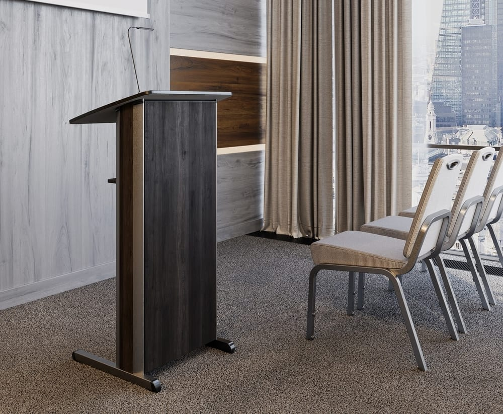 Aluminum lectern with lamp