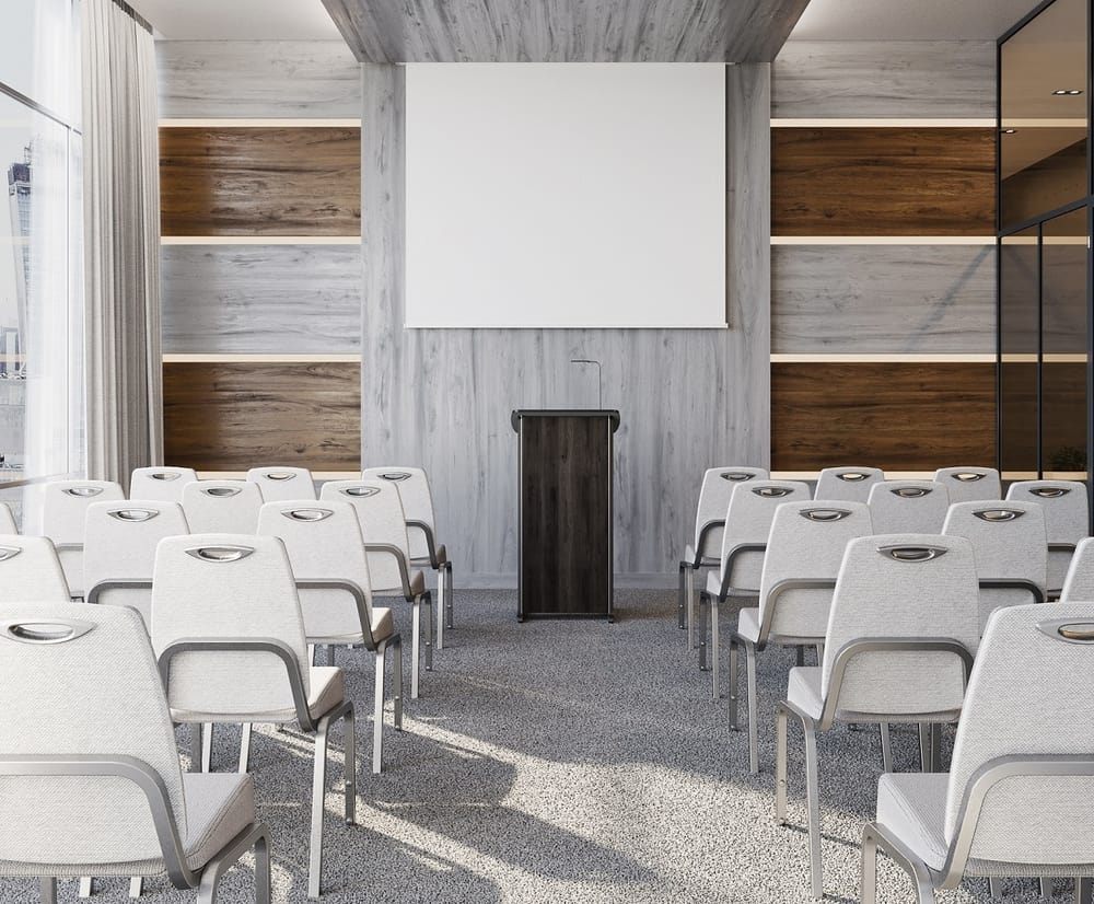 Conference room with lectern