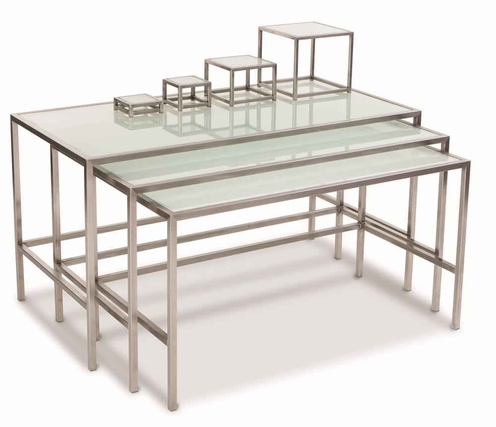 Stacking buffet tables with glass top