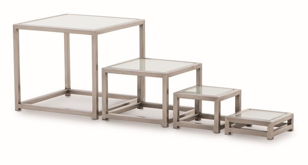 STEELampSTYLE Stainless Steel Buffet Tables With Glass Top