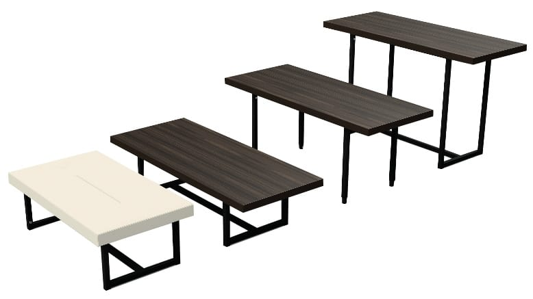 TRANS-POSE - Flexible system of tables and upholstered benches