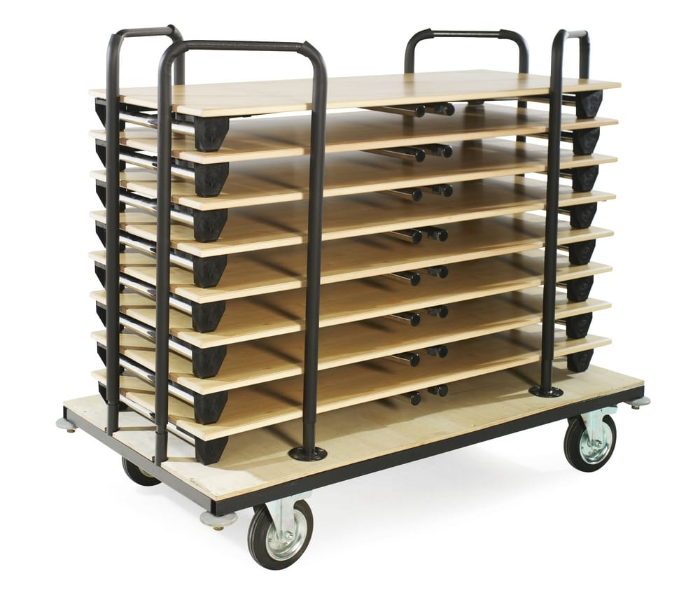 Trolley for transporting folding tables